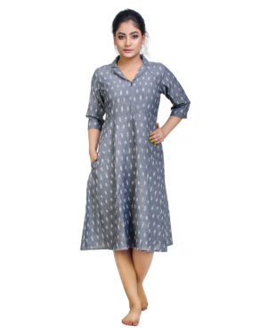 Cotton Ikkat woven long dress